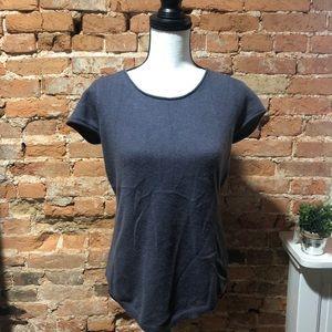 TAHARI short sleeve 2 ply cashmere sweater - M